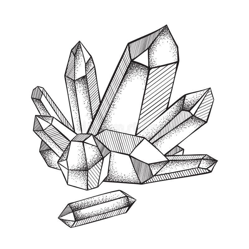 Κρύσταλλα druse που απομονώνονται στην άσπρη τέχνη γραμμών υποβάθρου συρμένη χέρι και τη διανυσματική απεικόνιση εργασίας σημείων απεικόνιση αποθεμάτων
