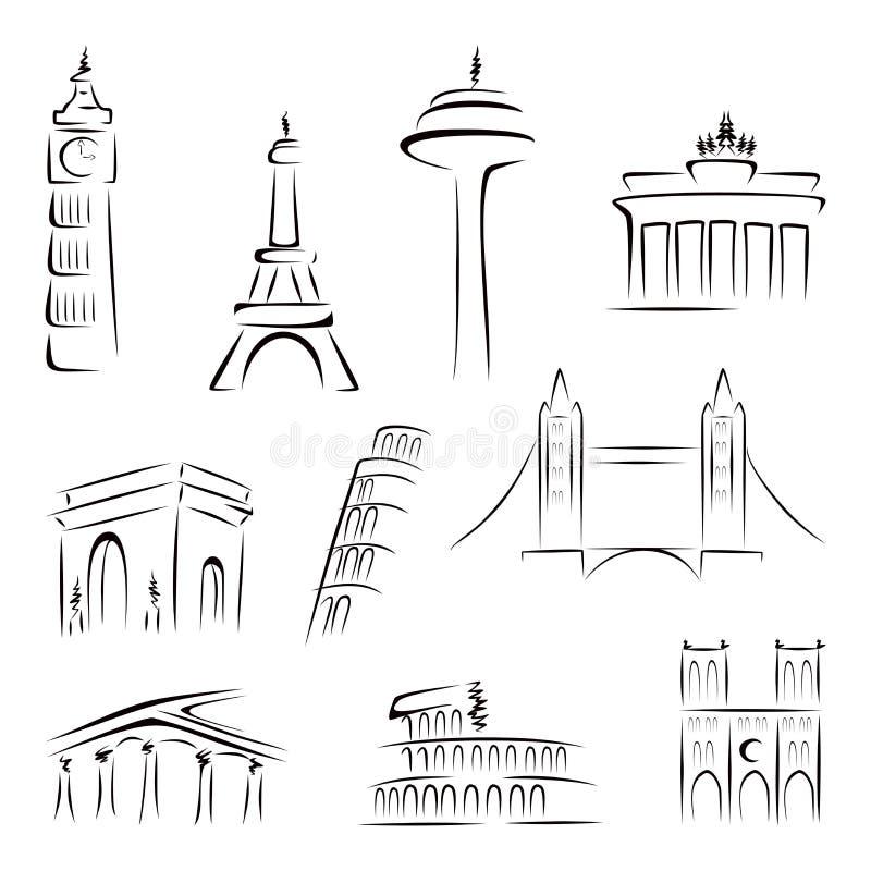 κτήρια διάσημα διανυσματική απεικόνιση