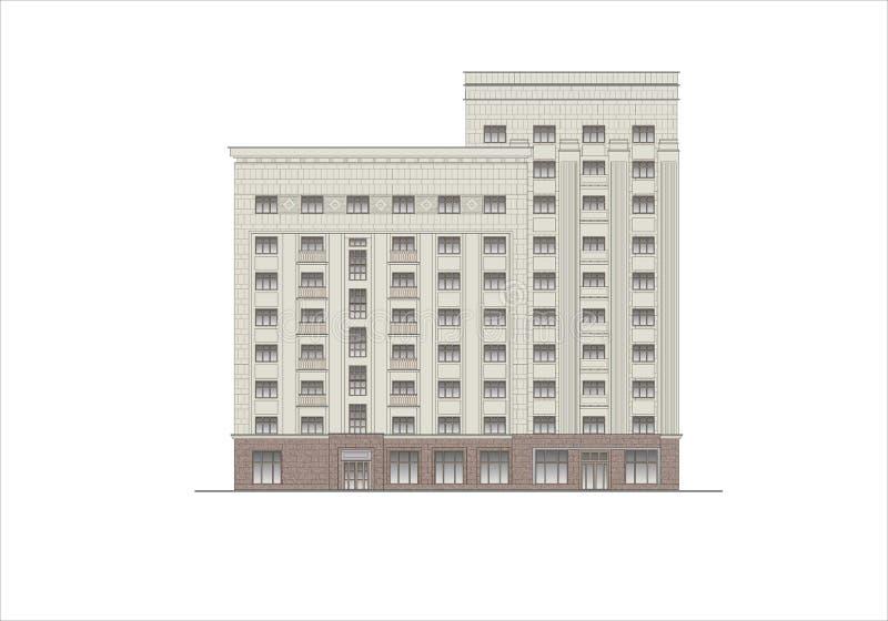 Κτήρια και δομές του πρόωρου και μέσου 20ου αιώνα διανυσματική απεικόνιση