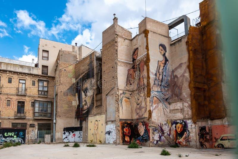 Κτήρια κεντρικών δρόμων στην Καρχηδόνα, Murcia, Ισπανία στοκ εικόνα