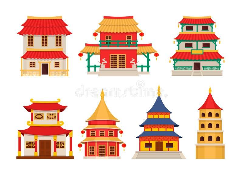 Κτήρια παραδοσιακού κινέζικου, ασιατικό διάνυσμα αρχιτεκτονικής chinatown διανυσματική απεικόνιση
