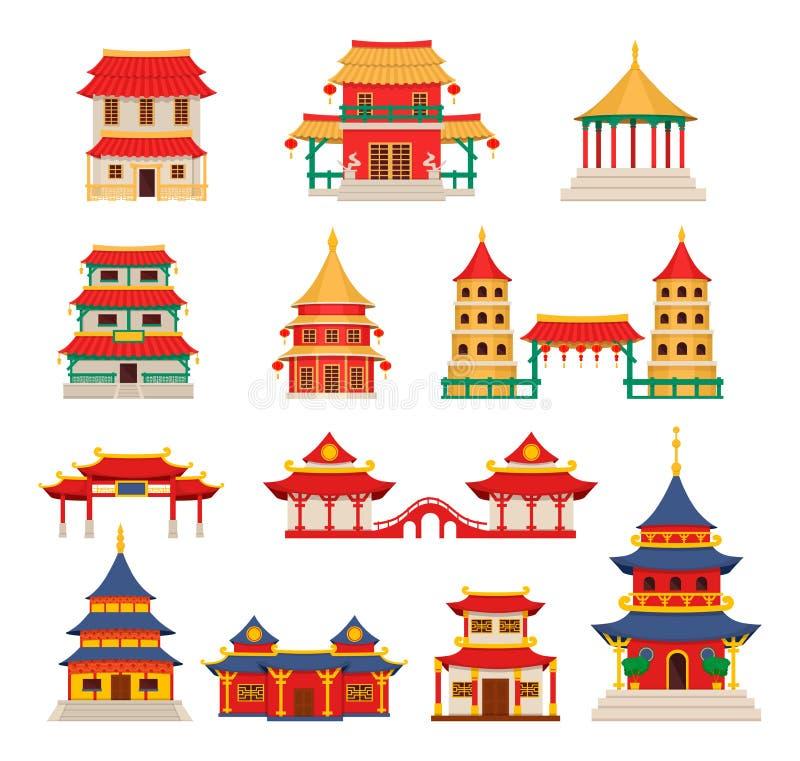 Κτήρια παραδοσιακού κινέζικου, ασιατικό διάνυσμα αρχιτεκτονικής chinatown απεικόνιση αποθεμάτων
