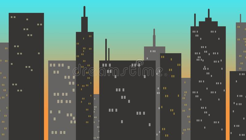 Κτήρια πόλεων στο ηλιοβασίλεμα διανυσματική απεικόνιση