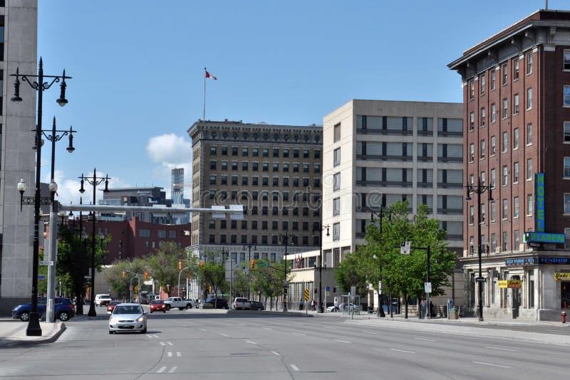Κτήρια σε στο κέντρο της πόλης, Winnipeg στοκ εικόνες