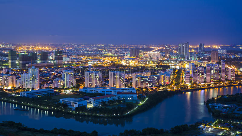 Κτήρια σε Phu κρεμασμένη μου, Distric 7, πόλη Χο Τσι Μινχ στοκ φωτογραφία με δικαίωμα ελεύθερης χρήσης