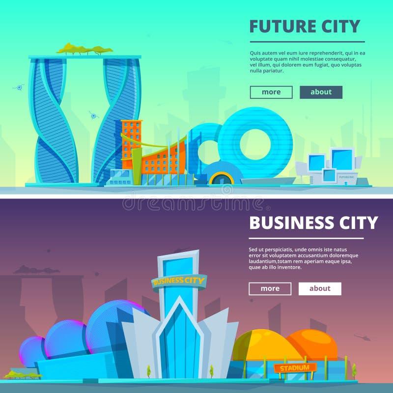 κτήρια φουτουριστικά Διανυσματικές απεικονίσεις των κτηρίων στο ύφος κινούμενων σχεδίων απεικόνιση αποθεμάτων