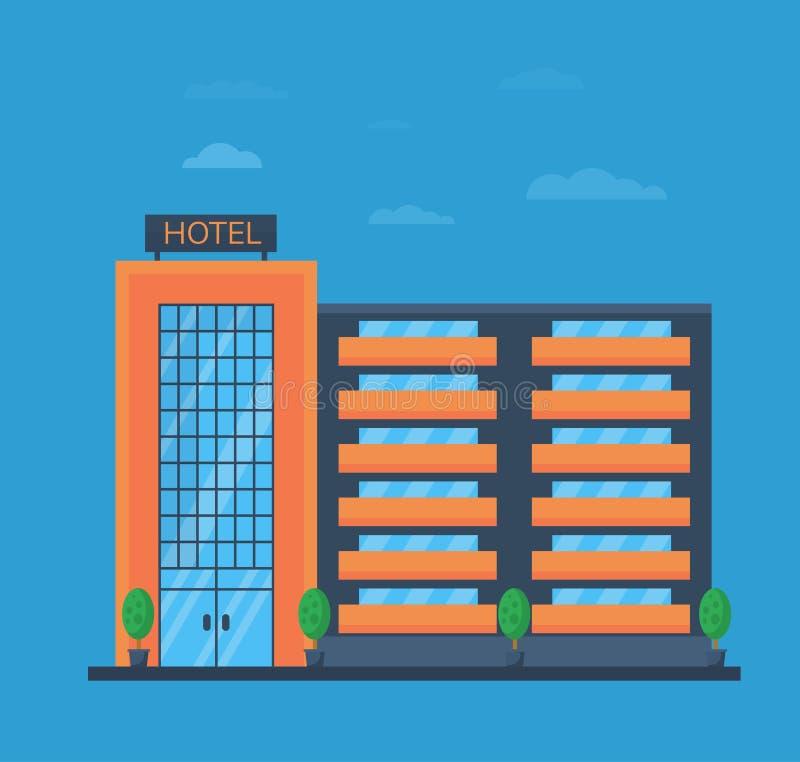 Κτήριο ή κτίριο γραφείων ξενοδοχείων για την επιχείρηση στο επίπεδο ύφος επίσης corel σύρετε το διάνυσμα απεικόνισης απεικόνιση αποθεμάτων