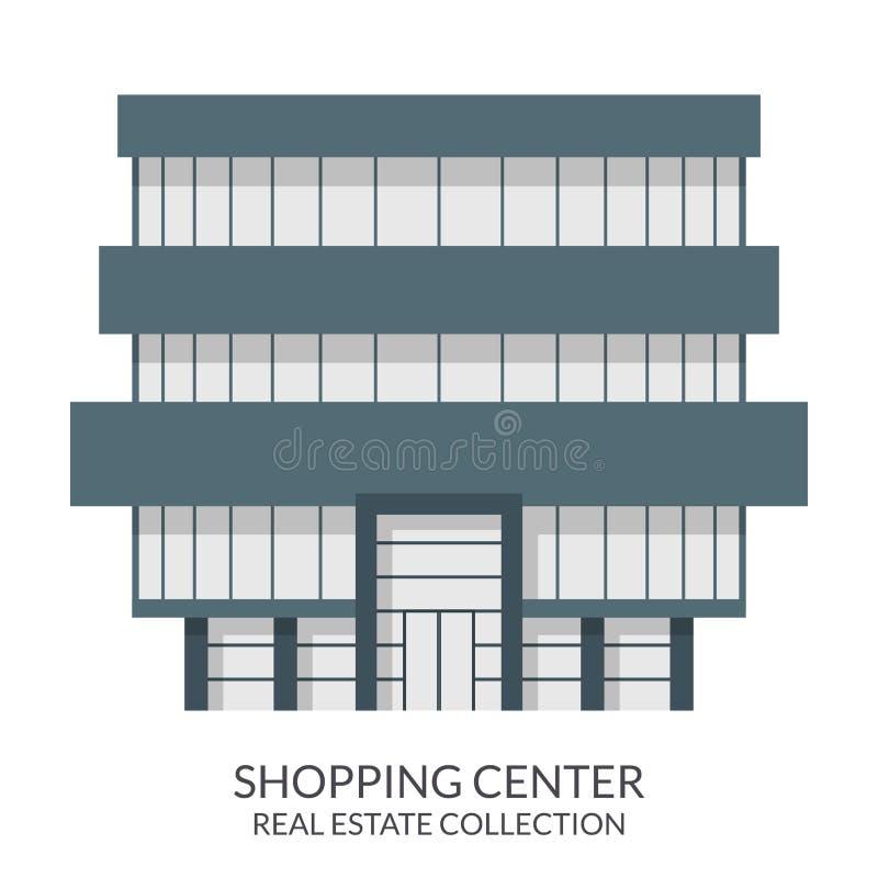 Κτήριο εμπορικών κέντρων, σημάδι ακίνητων περιουσιών στο επίπεδο ύφος επίσης corel σύρετε το διάνυσμα απεικόνισης ελεύθερη απεικόνιση δικαιώματος