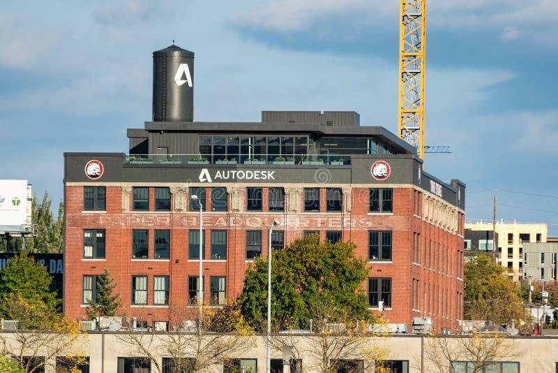 Κτήριο επιχείρησης Autodesk στο στο κέντρο της πόλης στοκ εικόνες