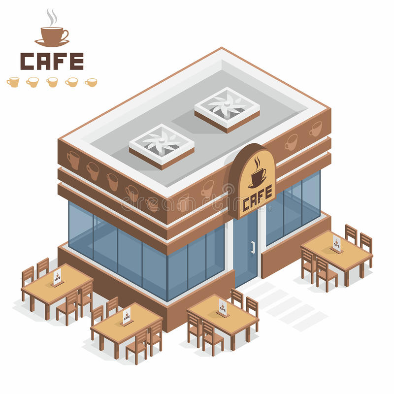 Κτήριο καφέδων ελεύθερη απεικόνιση δικαιώματος