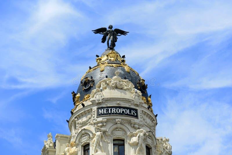 Κτήριο μητροπόλεων, Μαδρίτη, Ισπανία στοκ εικόνες