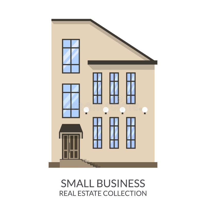 Κτήριο μικρών επιχειρήσεων, σημάδι ακίνητων περιουσιών στο επίπεδο ύφος επίσης corel σύρετε το διάνυσμα απεικόνισης απεικόνιση αποθεμάτων