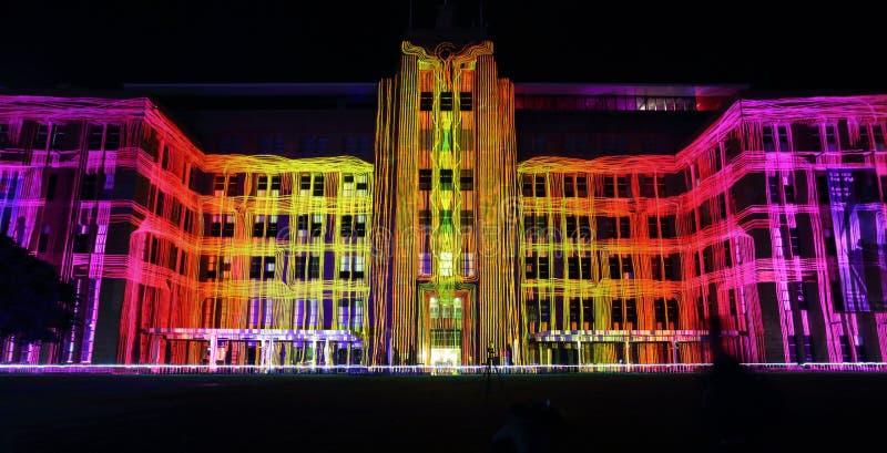 Κτήριο Μουσείων Σύγχρονης Τέχνης κατά τη διάρκεια του ζωηρού Σίδνεϊ στοκ φωτογραφία με δικαίωμα ελεύθερης χρήσης