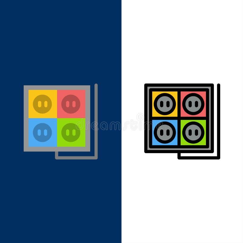 Κτήριο, οικοδόμηση, βούλωμα, υποδοχή, εικονίδια εργαλείων Επίπεδος και γραμμή γέμισε το καθορισμένο διανυσματικό μπλε υπόβαθρο ει ελεύθερη απεικόνιση δικαιώματος