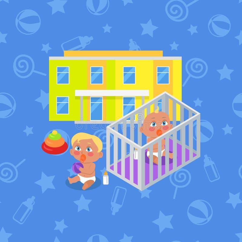 Κτήριο παιδικών σταθμών Αγόρι και κορίτσι διανυσματική απεικόνιση