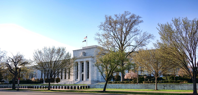 Κτήριο πινάκων Κεντρικής Τράπεζας των ΗΠΑ στο Washington DC στοκ φωτογραφία