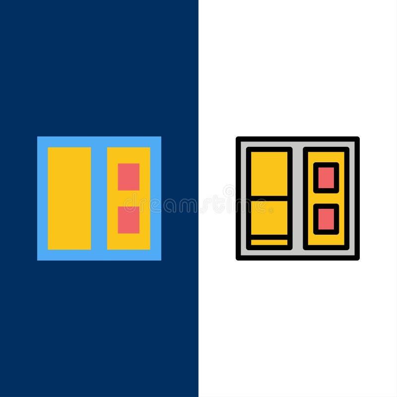 Κτήριο, σπίτι, εικονίδια πορτών Επίπεδος και γραμμή γέμισε το καθορισμένο διανυσματικό μπλε υπόβαθρο εικονιδίων διανυσματική απεικόνιση