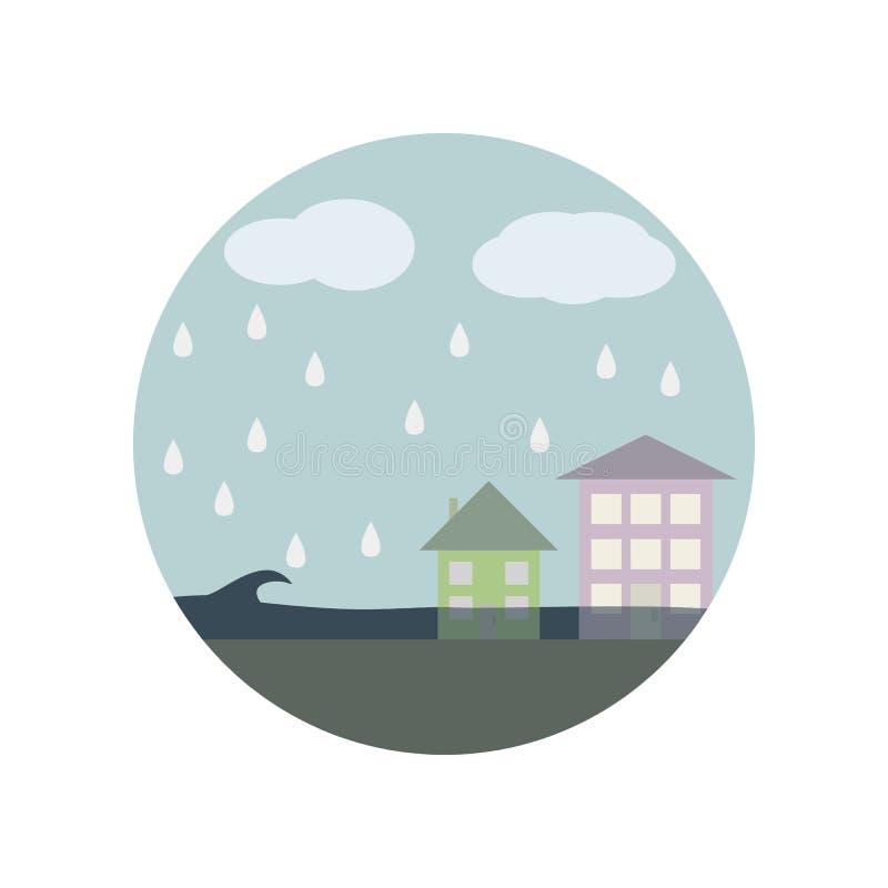 κτήριο, σύννεφο, καταστροφή, εικονίδιο χρώματος τσουνάμι Στοιχείο της σφαιρικής θερμαίνοντας απεικόνισης Εικονίδιο συλλογής σημαδ ελεύθερη απεικόνιση δικαιώματος