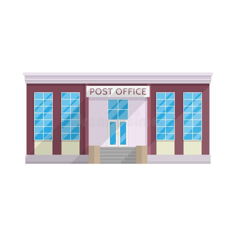 Κτήριο ταχυδρομείου στο επίπεδο ύφος που απομονώνεται στο άσπρο υπόβαθρο ελεύθερη απεικόνιση δικαιώματος
