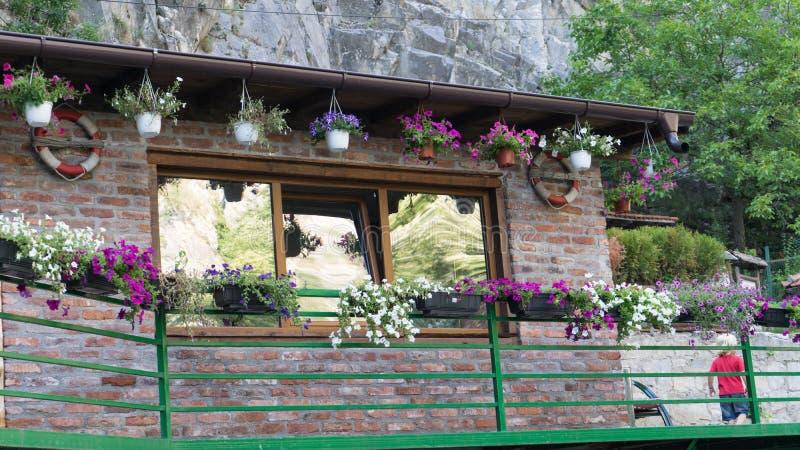 Κτήριο τούβλου με τα δοχεία λουλουδιών έξω από το σπίτι Πράσινο βουνό φρακτών και βράχου Ξανθό μικρό παιδί που περπατά στο φαράγγ στοκ εικόνες με δικαίωμα ελεύθερης χρήσης