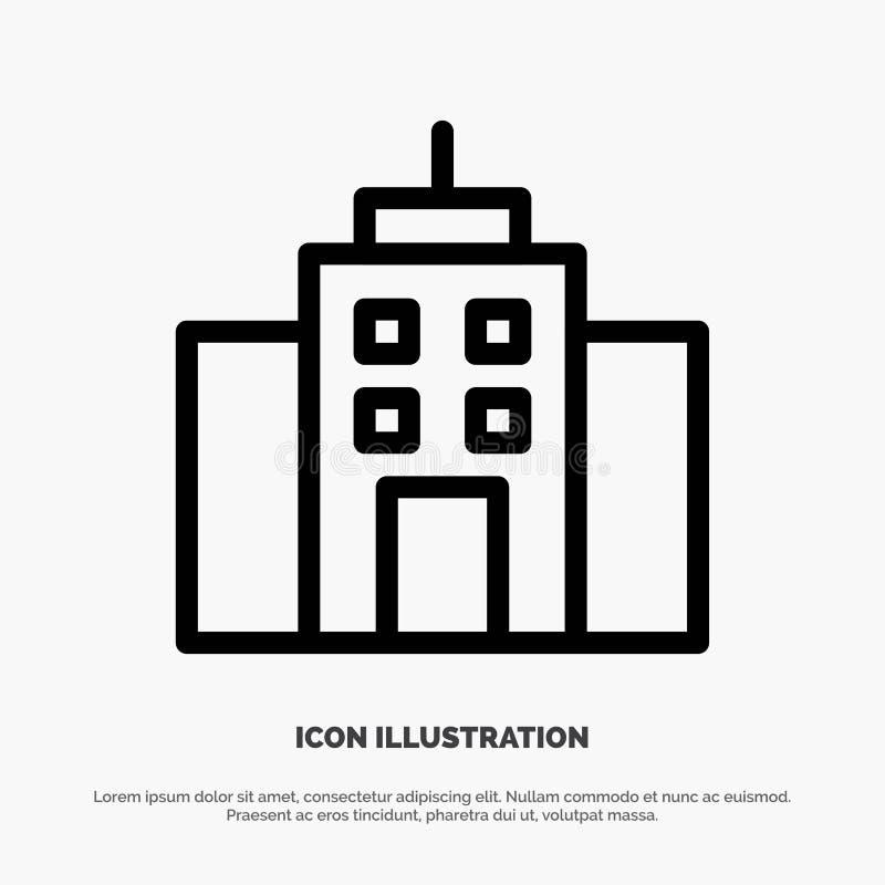 Κτήριο, χρήστης, γραφείο, διάνυσμα εικονιδίων γραμμών διεπαφών ελεύθερη απεικόνιση δικαιώματος