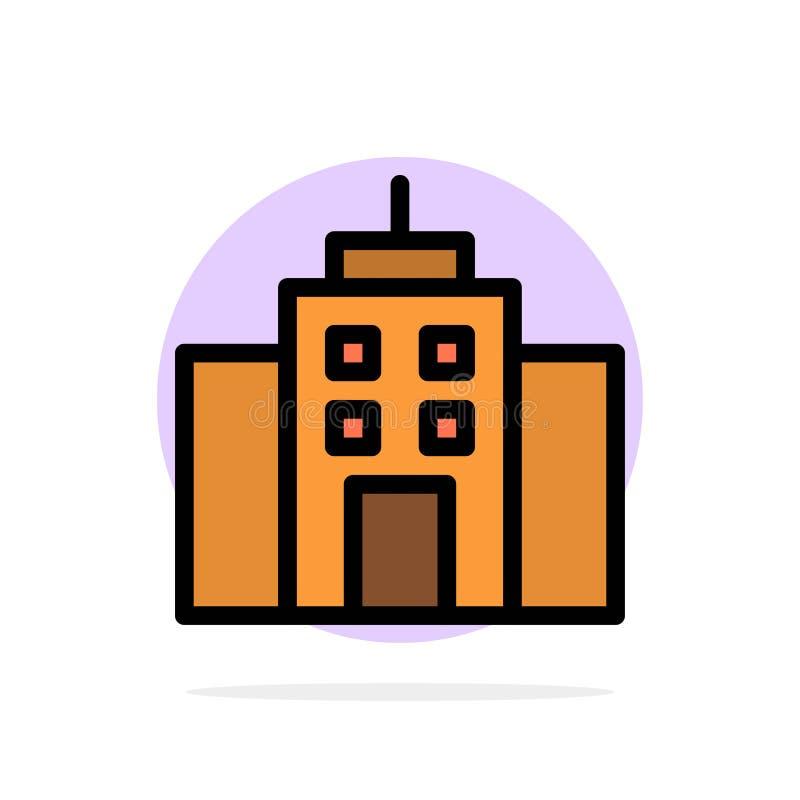 Κτήριο, χρήστης, γραφείο, διεπαφών αφηρημένο κύκλων εικονίδιο χρώματος υποβάθρου επίπεδο ελεύθερη απεικόνιση δικαιώματος