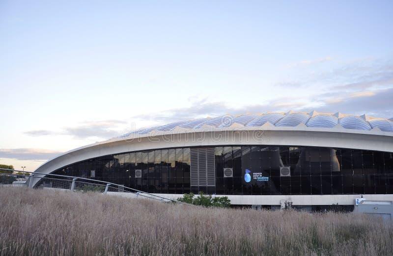 Κτήριο Biodome στο πάρκο ολυμπιακό από το Μόντρεαλ στην επαρχία του Κεμπέκ του Καναδά στοκ εικόνα με δικαίωμα ελεύθερης χρήσης