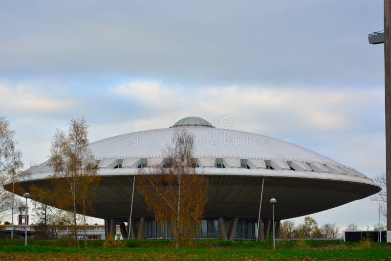 Κτήριο Evoluon, που διαμορφώνεται όπως ένα ufo στοκ φωτογραφία