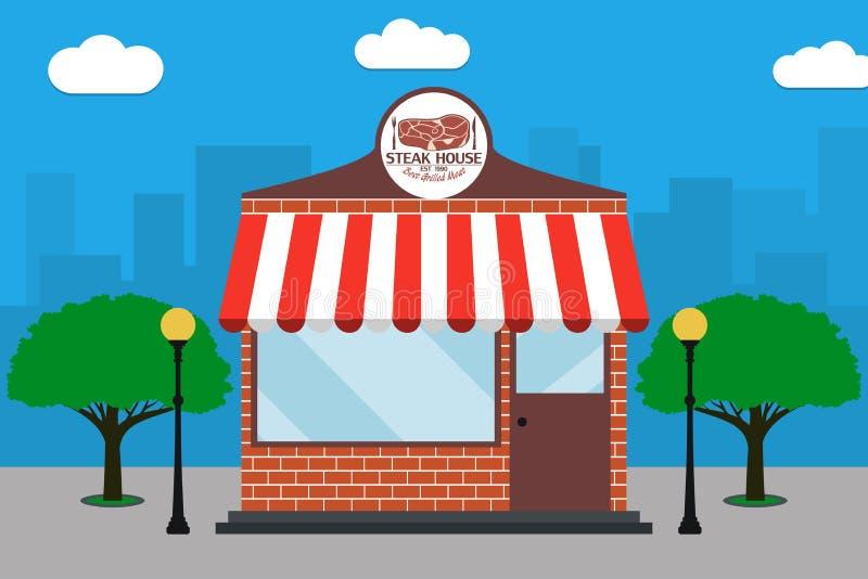 Κτήριο Steakhouse Πρόσοψη ψησταριών με την πινακίδα με το κρέας, λαμπτήρες οδών, δέντρα επίσης corel σύρετε το διάνυσμα απεικόνισ διανυσματική απεικόνιση
