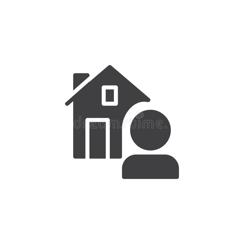 Κτηματομεσίτης και διάνυσμα εικονιδίων σπιτιών διανυσματική απεικόνιση
