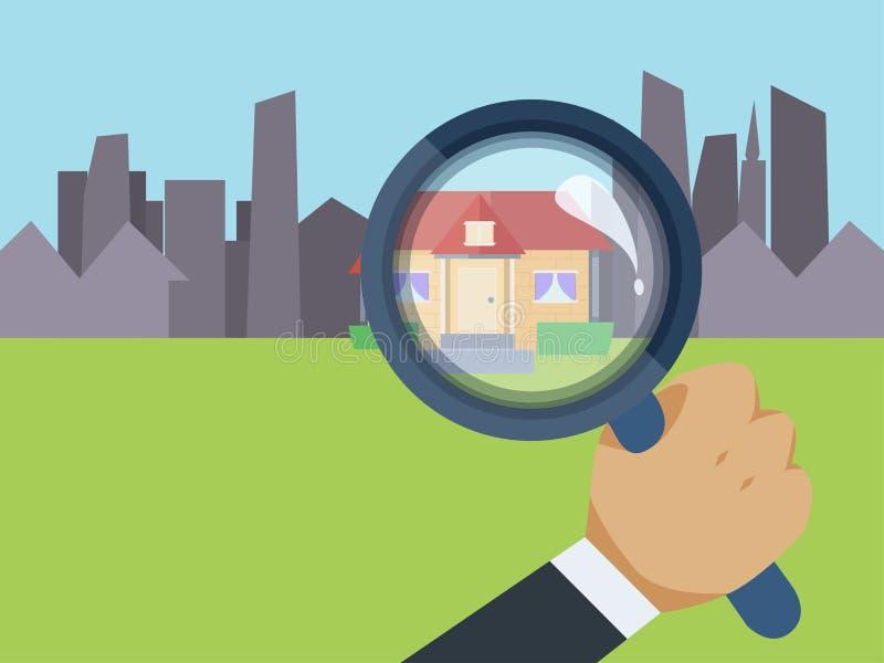 Κτηματομεσίτης που βρίσκει το σπίτι ονείρου σας ελεύθερη απεικόνιση δικαιώματος
