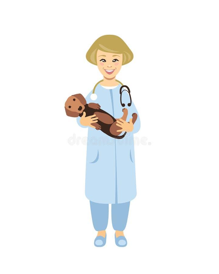 Κτηνίατρος γιατρών με το σκυλί ελεύθερη απεικόνιση δικαιώματος