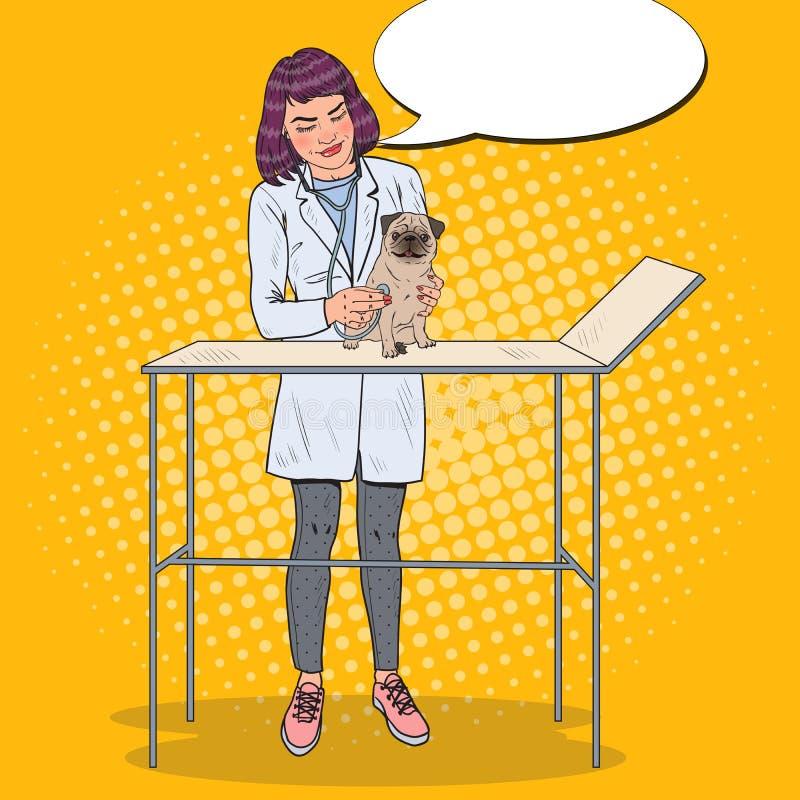 Κτηνίατρος γυναικών που εξετάζει το σκυλί μαλαγμένου πηλού κατοικίδιο ζώο προσοχής Λαϊκή απεικόνιση τέχνης ελεύθερη απεικόνιση δικαιώματος