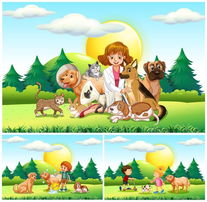 Κτηνίατρος και πολλά ζώα στο πάρκο απεικόνιση αποθεμάτων