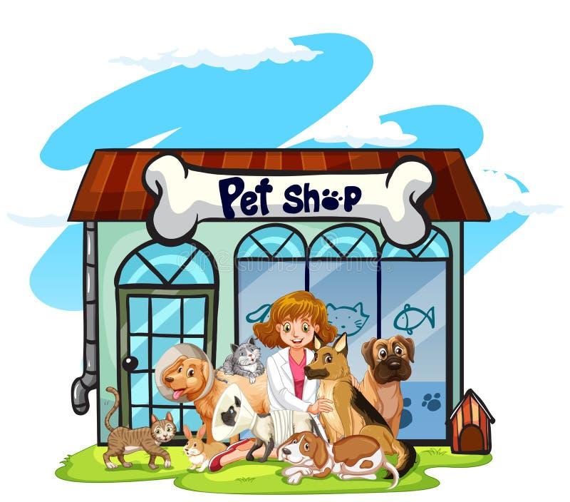 Κτηνίατρος και πολλά κατοικίδια ζώα στο κατάστημα κατοικίδιων ζώων διανυσματική απεικόνιση