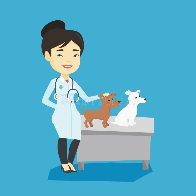 Κτηνίατρος που εξετάζει τη διανυσματική απεικόνιση σκυλιών ελεύθερη απεικόνιση δικαιώματος