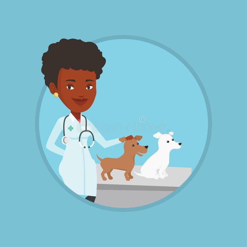 Κτηνίατρος που εξετάζει τη διανυσματική απεικόνιση σκυλιών διανυσματική απεικόνιση