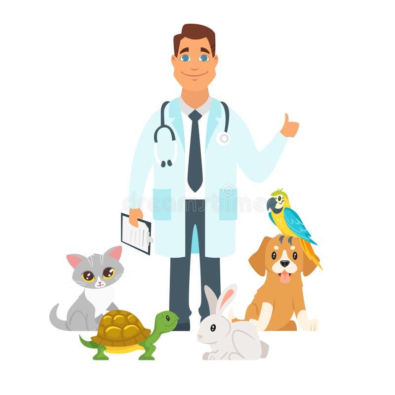 Κτηνίατρος που περιβάλλεται με τα εγχώρια κατοικίδια ζώα απεικόνιση αποθεμάτων