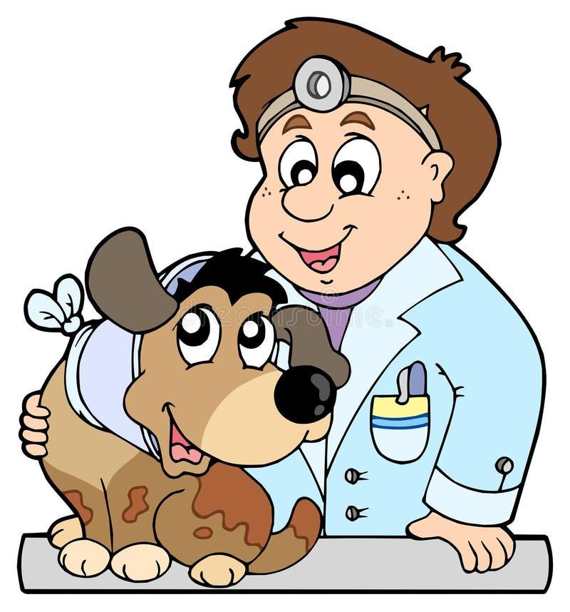 κτηνίατρος σκυλιών περι&lambd διανυσματική απεικόνιση