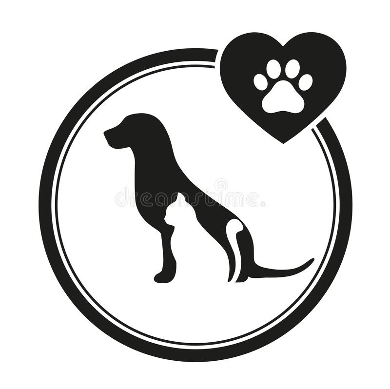 Κτηνιατρικό έμβλημα ενός σκυλιού και μιας γάτας Λογότυπο σκιαγραφιών σκυλιών και γατών για την επιχείρηση κατοικίδιων ζώων ελεύθερη απεικόνιση δικαιώματος