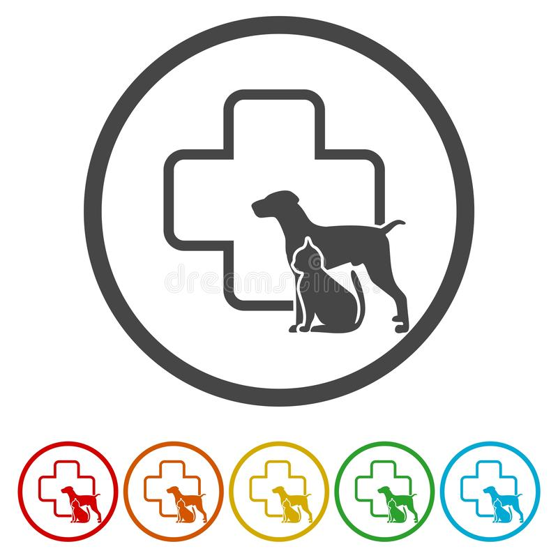 Κτηνιατρικό εικονίδιο κλινικών κατοικίδιων ζώων κύκλων σκιαγραφιών σκυλιών και γατών, διανυσματική απεικόνιση απεικόνιση αποθεμάτων