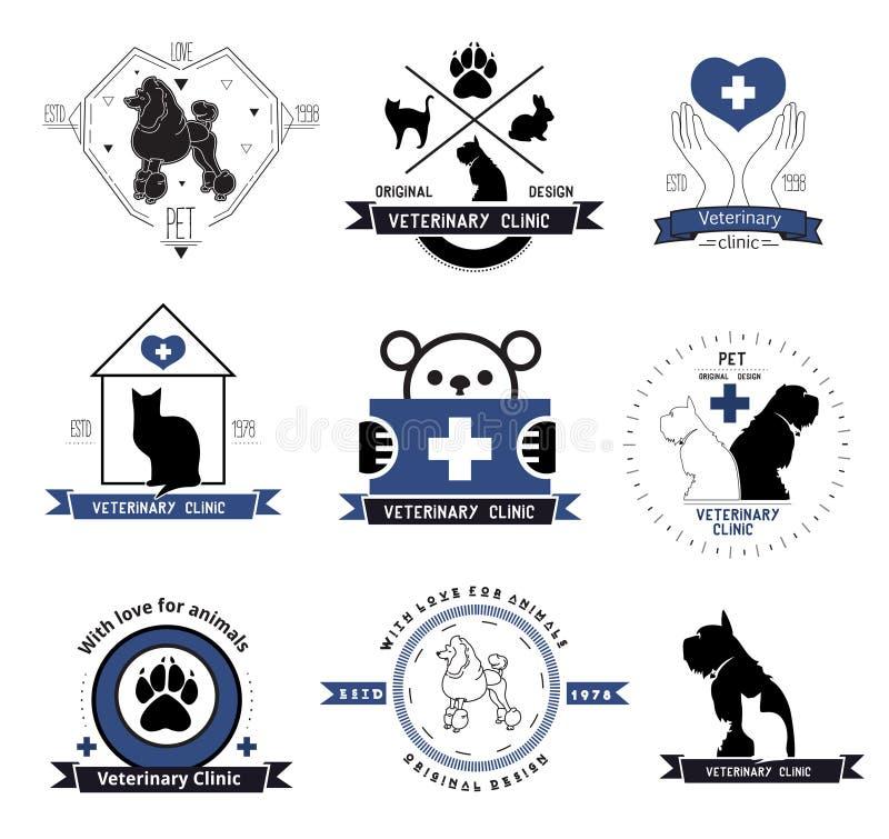 Κτηνιατρικό στοιχείο σχεδίου ετικετών λογότυπων κλινικών Θεραπεία των ζωικών ασθενειών διανυσματική απεικόνιση