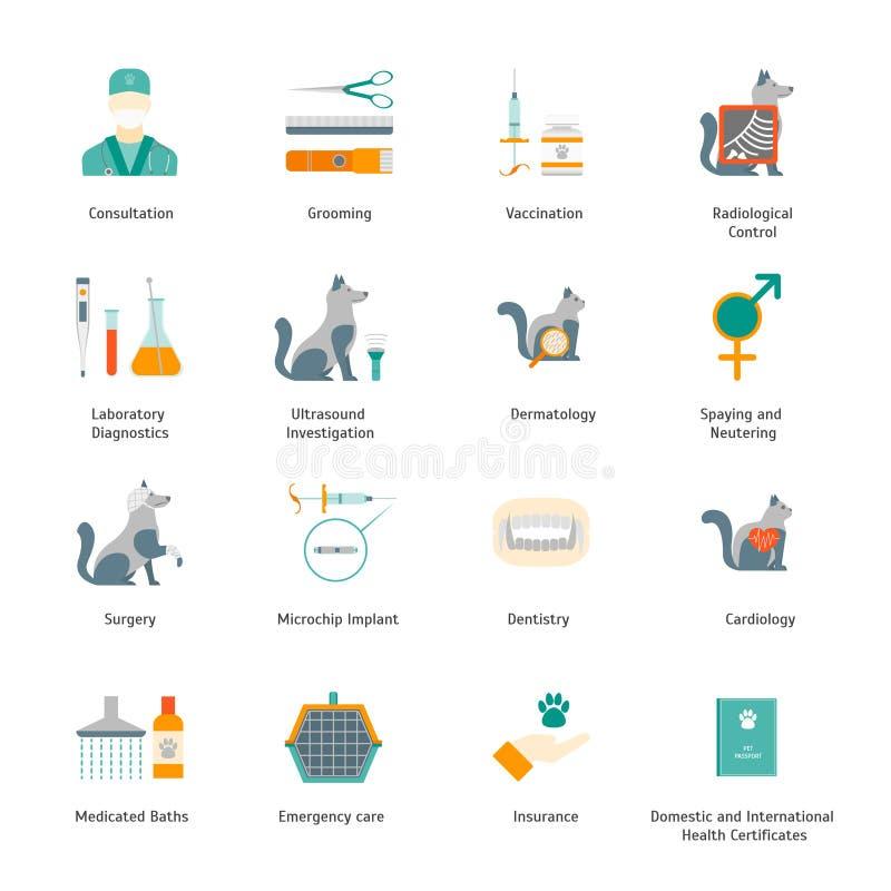 Κτηνιατρικών και σημαδιών καλλωπισμού κινούμενων σχεδίων εικονίδια χρώματος καθορισμένα διάνυσμα διανυσματική απεικόνιση