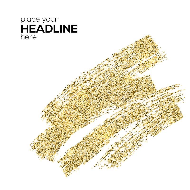 Κτυπήματα βουρτσών της χρυσής λαμπιρίζοντας σκόνης, αφηρημένες μορφές Το επίχρισμα με το χρυσό λαμπύρισμα ακτινοβολεί απομονωμένο ελεύθερη απεικόνιση δικαιώματος