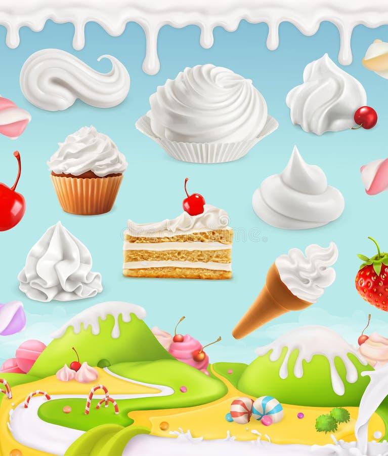 Κτυπημένη κρέμα, γάλα, απεικόνιση κρέμας απεικόνιση αποθεμάτων