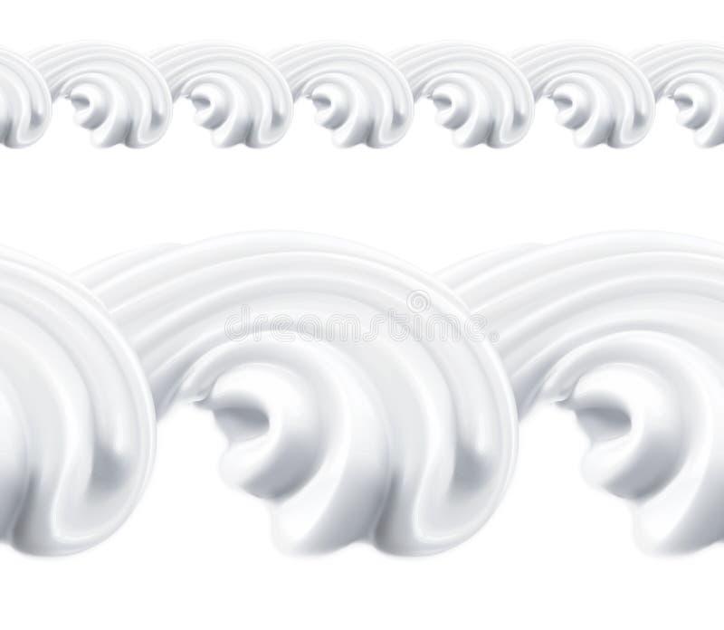 Κτυπημένο διανυσματικό άνευ ραφής σχέδιο κρέμας διανυσματική απεικόνιση