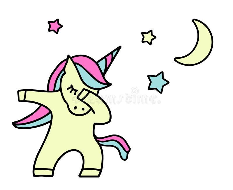 Κτυπώντας μονόκερος με τα αστέρια o χορός κτυπημάτων ελεύθερη απεικόνιση δικαιώματος