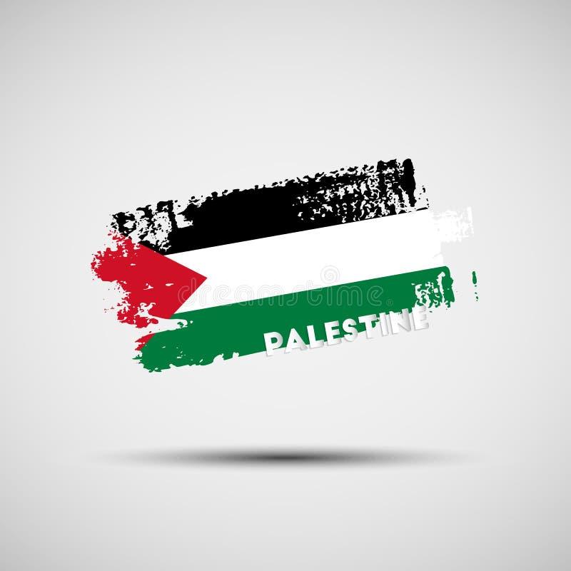 Κτύπημα βουρτσών Grunge με τα παλαιστινιακά χρώματα εθνικών σημαιών ελεύθερη απεικόνιση δικαιώματος