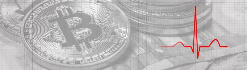 Κτύπος της καρδιάς έννοιας προβλήματος Bitcoin Ρυθμός καρδιών στοκ εικόνες