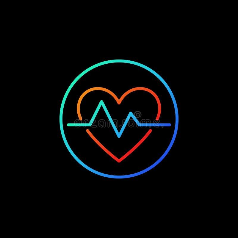 Κτύπος της καρδιάς στο μπλε διανυσματικό εικονίδιο ή το σύμβολο κύκλων στο ύφος γραμμών απεικόνιση αποθεμάτων